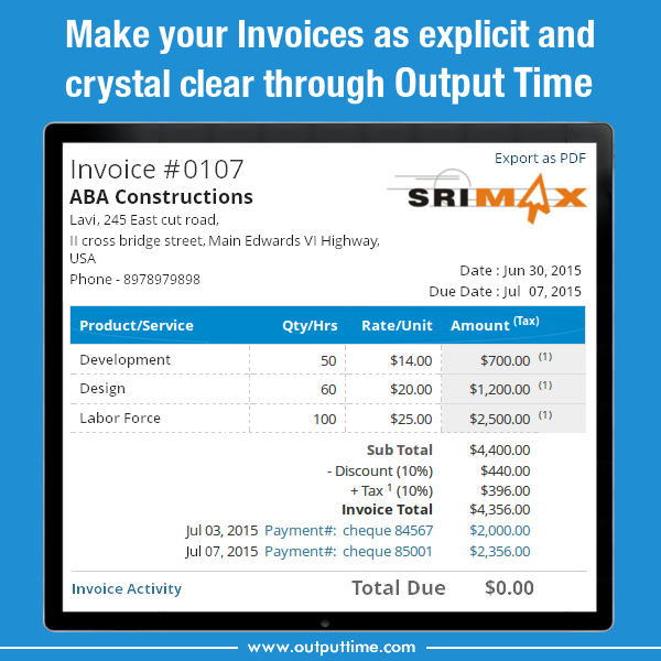 Output Time Business Invoice