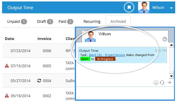 Instant Messenger - Output Time Task Update